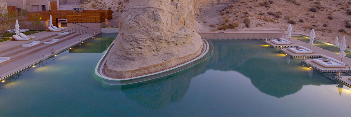 The pool around a rockstack in the Utah desert at the Amangiri hotel