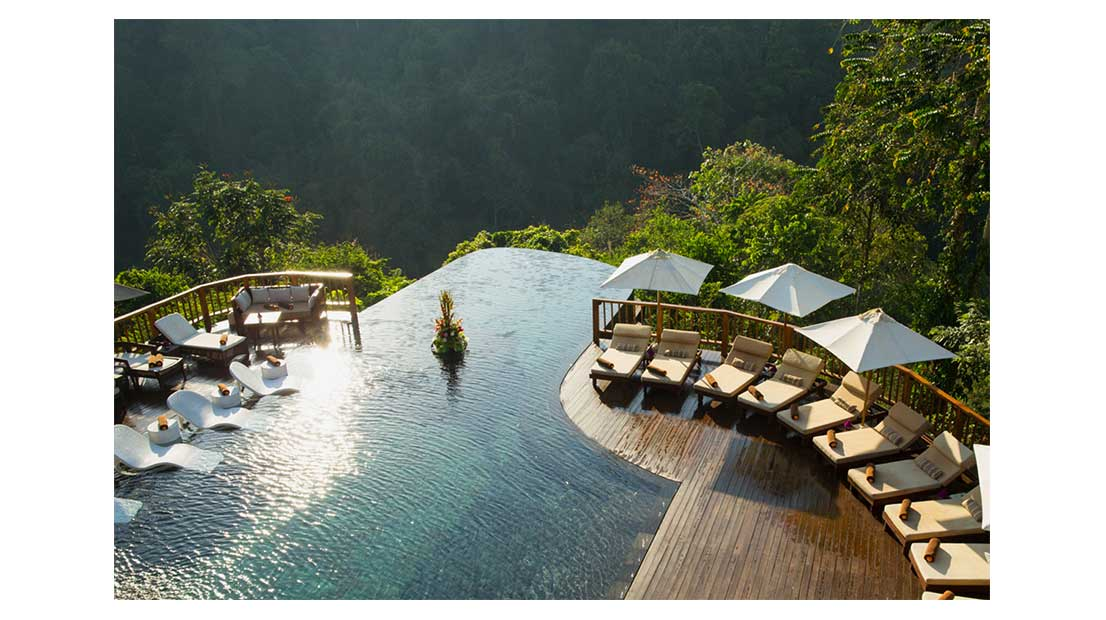 The tiered pools in the jungle at the Hanging Gardens hotel in Ubud, Bali