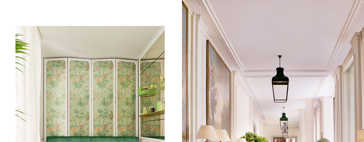 A sitting area at Le Bristol Hotel Paris with light green silk walls and a green velvet sofa with a gold drinks trolley and a white wood pannelled hallway in the hotel with floor to ceiling windows and a black and white tiled floor
