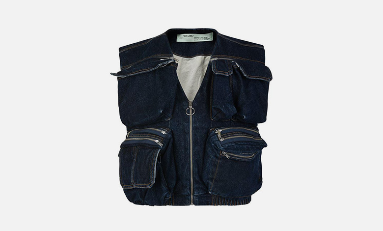 An Off-White indigo denim gilet with multiple pockets