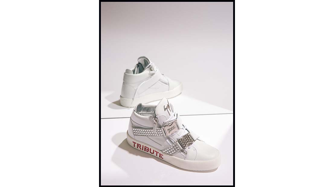 Giuseppe Zanotti Michael Jackson Tribute Project high top in white leather