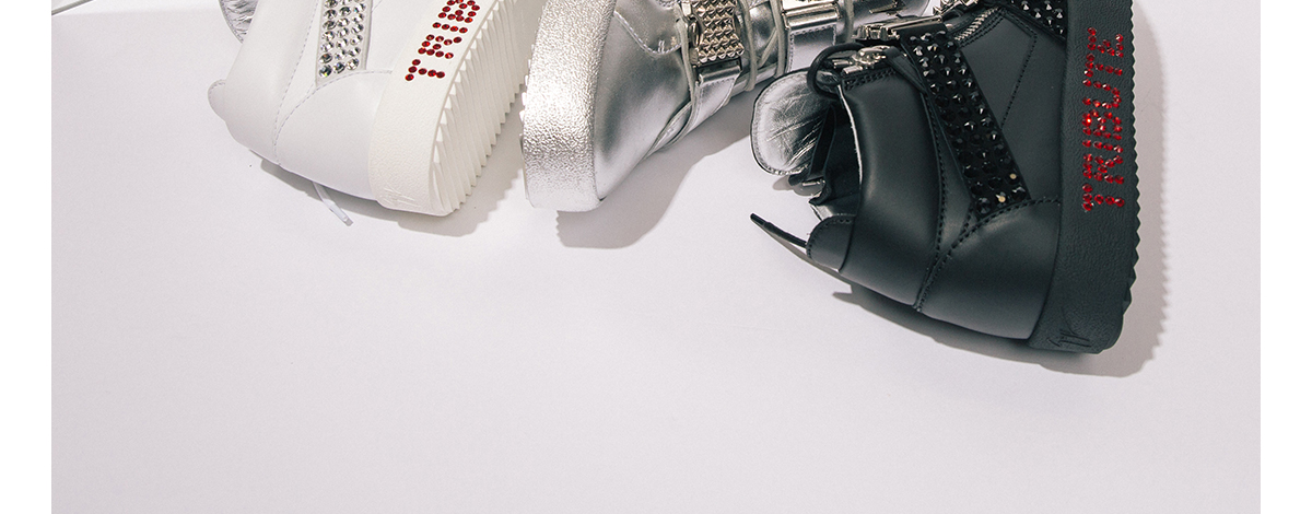Giuseppe Zanotti Michael Jackson Tribute Project high top in white, black and silver leather