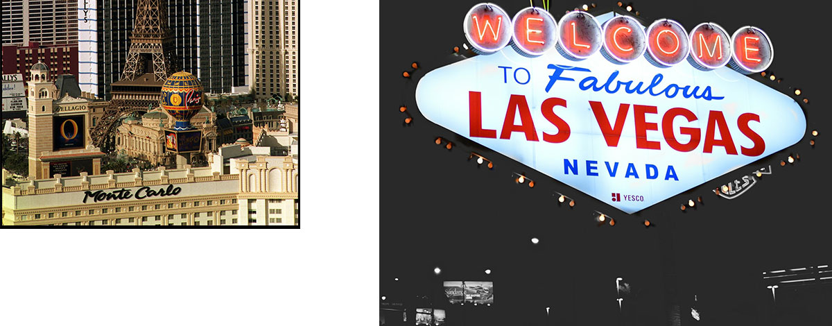 A view of the Eiffel Tower in Las Vegas and a neon 'Welcome to Fabulous Las Vegas' sign