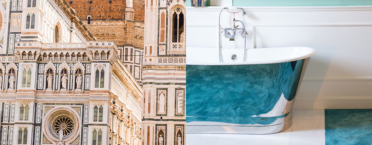 The domed roof of the Duomo in Florence, Italy and a chic interior of the hotel AdAstra with blue painted walls with white mouldings and an old-fashioned metal roll top bath
