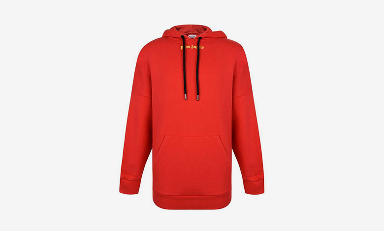 Palm Angels over the head red logo hooded sweatshirt
