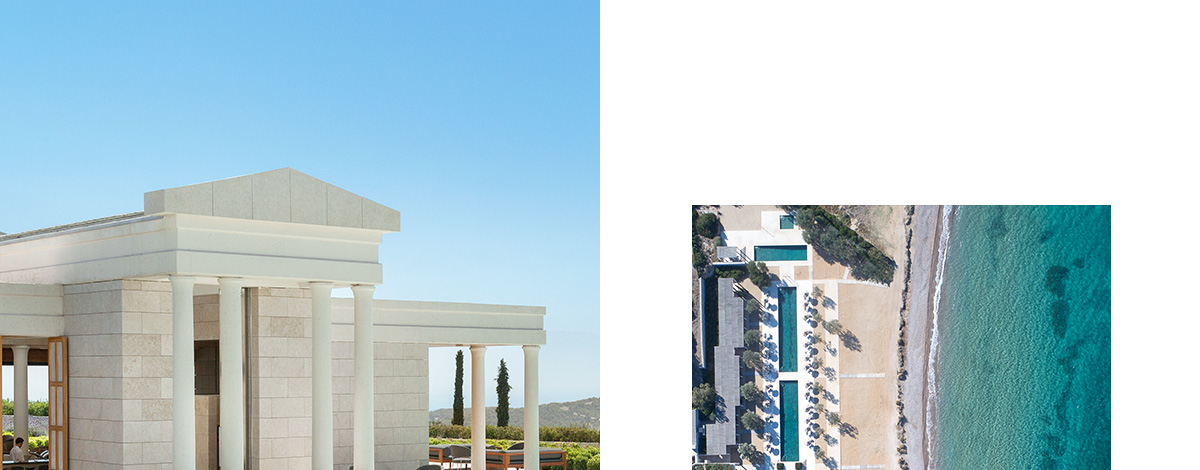 The Acropolis-style AMANZOE hotel - facade of a hotel building in white stone with tall columns and an aqua-marine pool in front of it lined with lavendar bushes