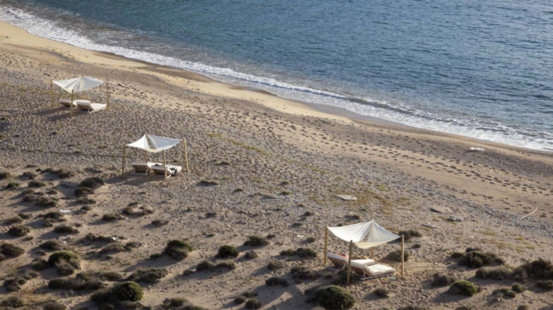 Vagia Beach and a luxury eco hotel on Serifos island, Greece