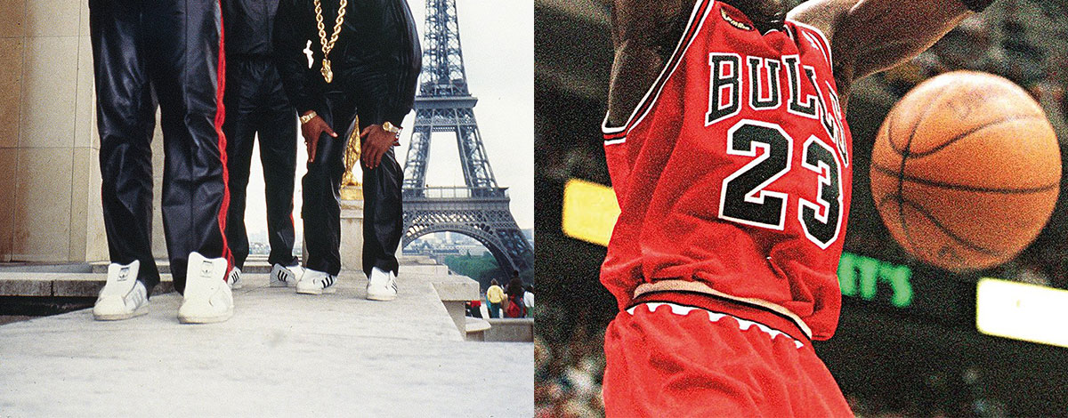 Run DMC wearing tracksuits in front of the Eiffel Tower in Paris and Michael Jordan shooting hoops