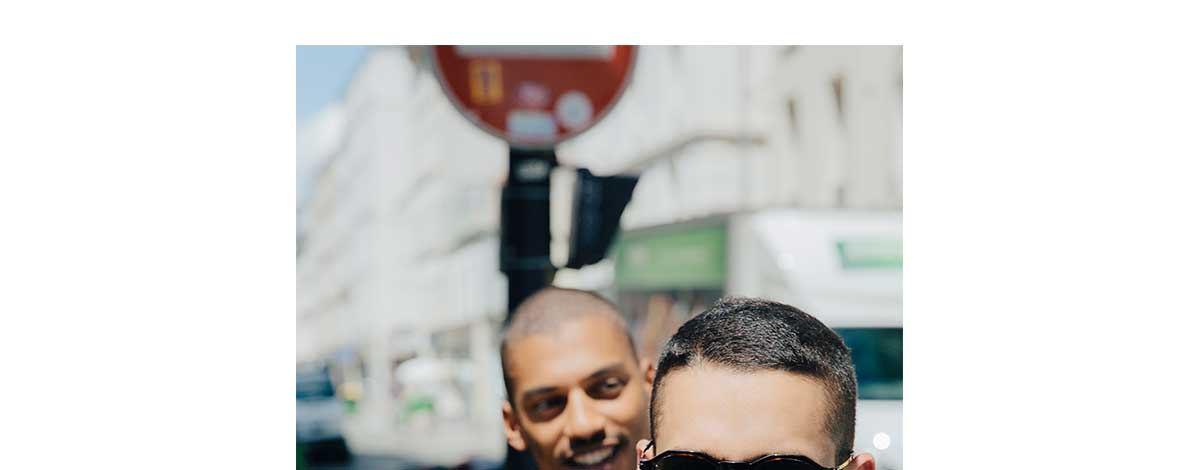 Ysham Avdulahi and Jimmy Launay in the Paris sunshine wearing a Valentino camouflage track top and polo shirt and a Givenchy T-shirt, denim jacket and sunglasses