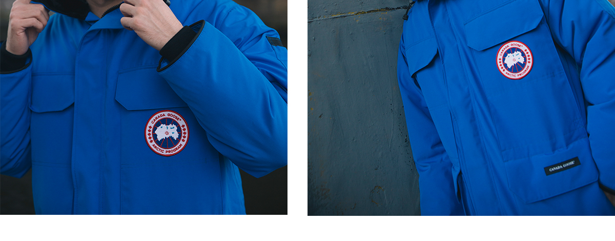 Model wearing a blue Canada Goose parka