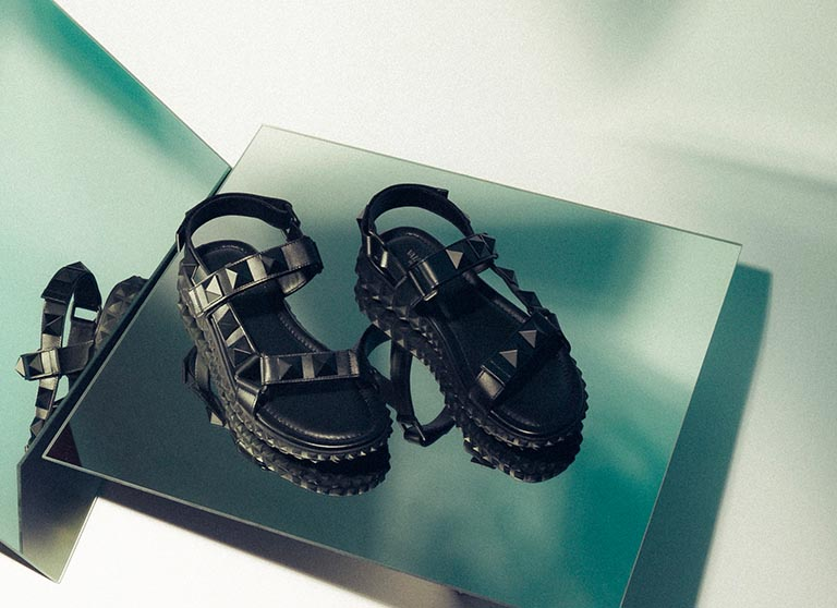 Black Valentino Rockstud Sporty sandals with velcro straps