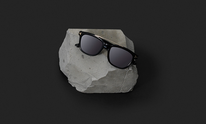 A pair of black Tom Ford sunglasses