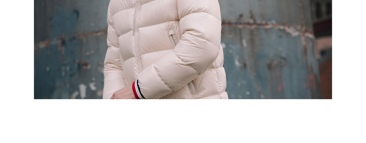 Model wearing Moncler down jacket