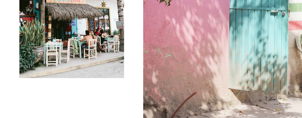 Pink walls, palm trees and pavement cafes in Sayulita, Mexico