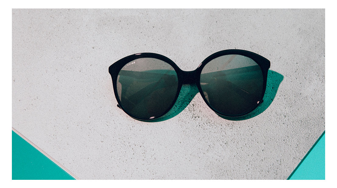 Black rounded frame Gucci sunglasses