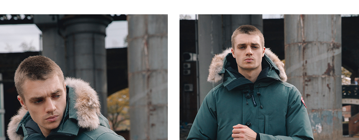 Model wearing a green Canada Goose parka