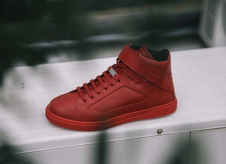 Red Saint Laurent High Top Trainer