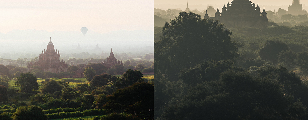 hot air balloons floating in the sky above the ancient temple complex of Bagan, a landscape of green vegetation and intricate temples and pagodas
