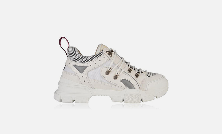 Gucci flashtreck trainers in white leather and mesh with straps and a chunky sole