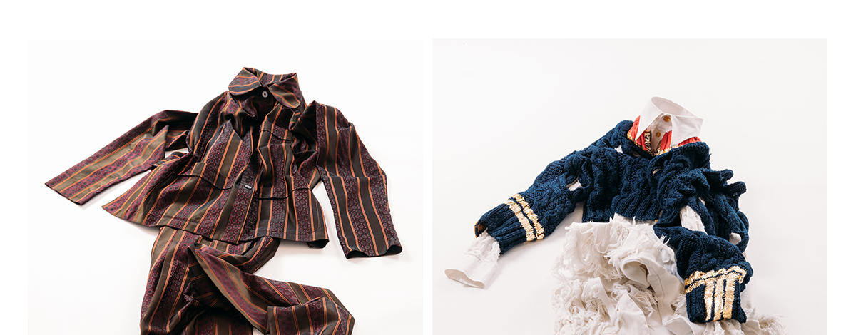 Two flat lays of complete men's outfits by Romeo Gigli and Vivienne Westwood, includign a brown and orange pin stripe suit and a military-inspired distressed knitted jumper over a white shredded shirt