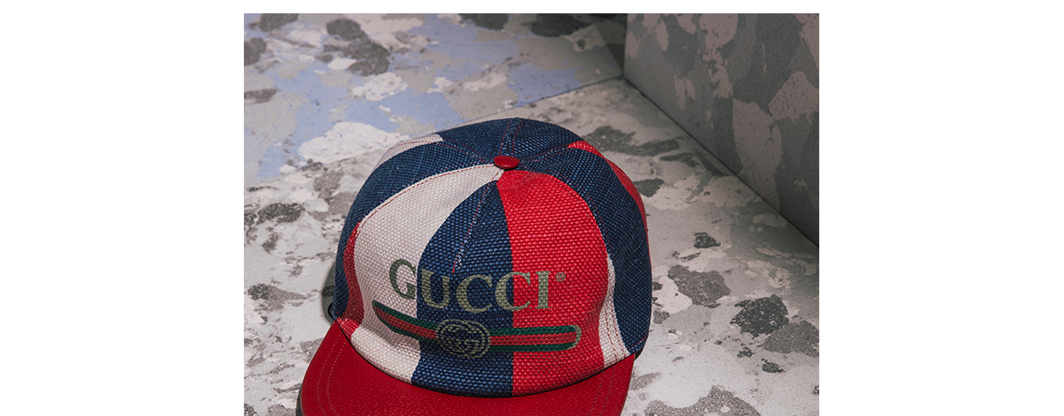 Red and white and blue stripe Gucci logo snapback cap