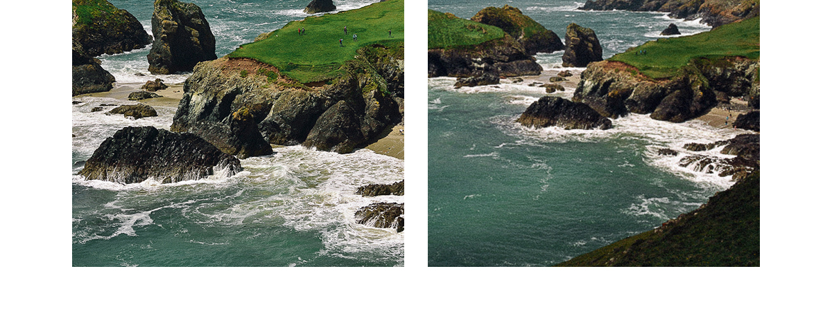 View of the sea, waves, rock islets and beach at Kynance Cove, Cornwall