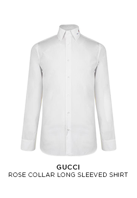 Gucci rose collar long sleeved white shirt