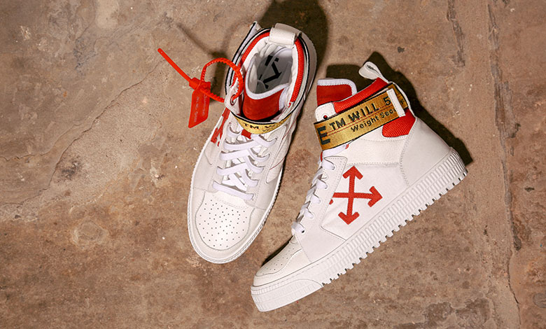Off-White industrial high top trainers in red and white leather with the signature yellow tag