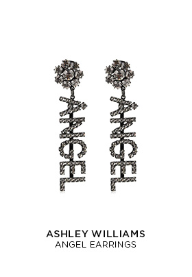 Ashley Williams diamante ANGEL drop earrings