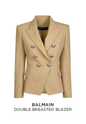 Balmain double breasted light beige blazer with silver buttons