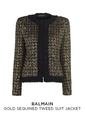 Balmain gold sequined tweed suit jacket