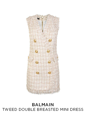 Balmain tweed double breasted mini dress in cream