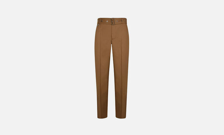 A pair of camel coloured Burberry cotton trousers