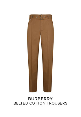Brown Burberry belted cotton trousers