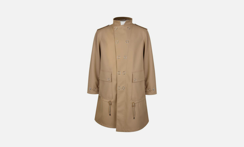 A Burberry ruber parka with a detachable hood in beige