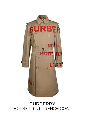Burberry horse print trench coat
