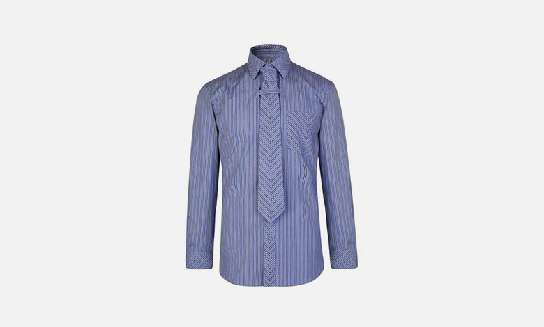 BUrberry blue stripe shirt with built-in matching tie