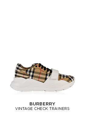 Burberry vintage check trainers with a chunky white rubber sole and check upper