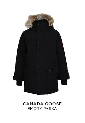 Canada Goose Emory black hip length parka with a hood and Canada Goose arm patch