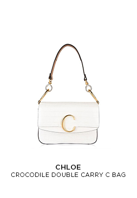 A cream Chloe crocodile effect double carry C logo bag