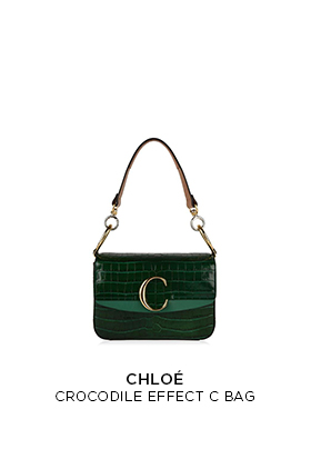 Chloe emerald green crocodile effect double carry C logo bag
