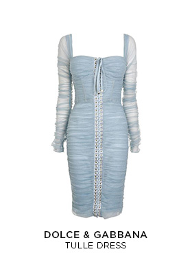 Pale blue Dolce & Gabbana tulle midi dress with a corset bodice and sweetheart neckline