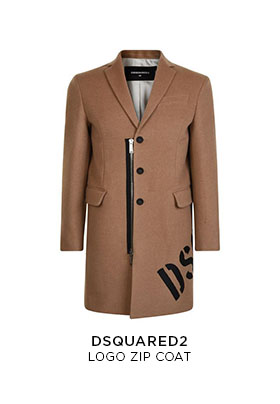 Dsquared2 logo zip camel coat