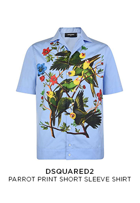 Dsquared2 parrot print shor sleeve shirt