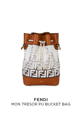 Fendi mon Tresor transparent PU and tan leather bucket bag printed with the white double F logo