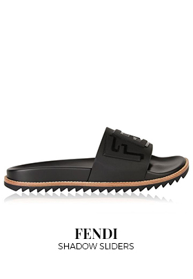 Fendi shadow black logo sliders