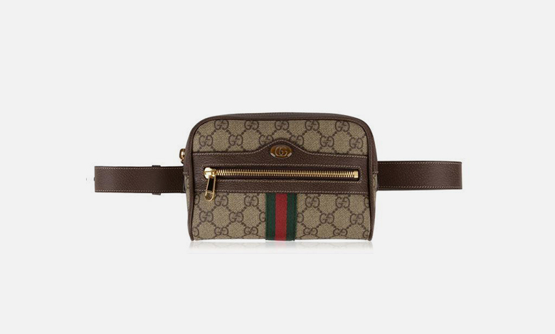 Gucci Ophidia belt bag in GG canvas with red and green Gucci web stripe