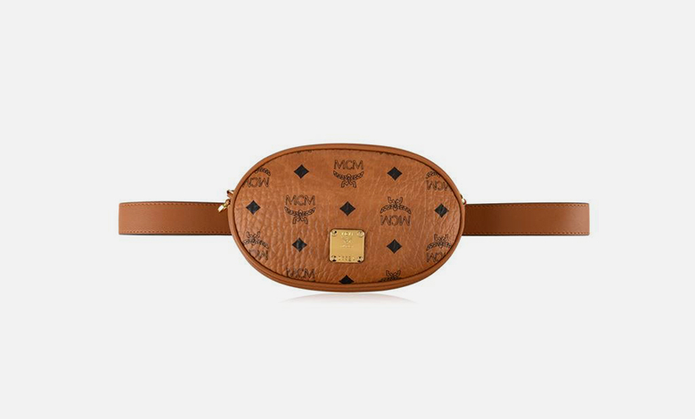 MCM tan leather monogrammed oval shaped belt bag Essential original Visetos