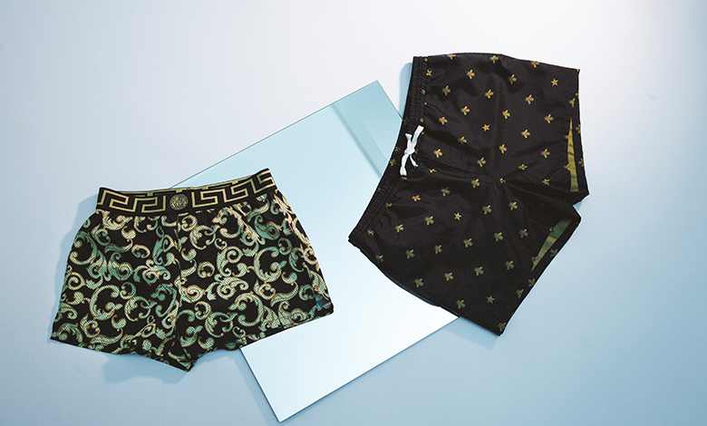 Gucci Bee Star Swim Shorts and Versace Greco print swim shorts