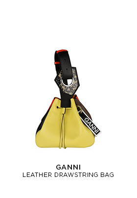 Ganni leather drawstring bag